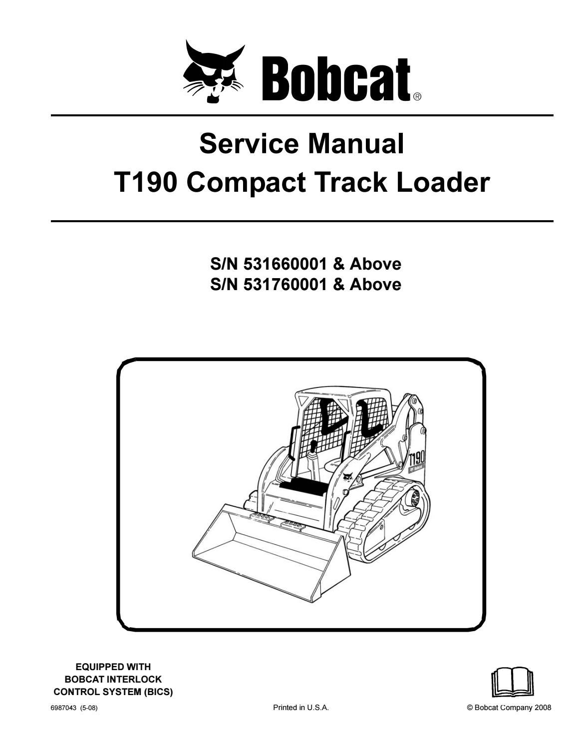hight resolution of bobcat t190 compact track loader service repair manual snsn 531660001 above sn 531760001 above by ujhsenfnse issuu
