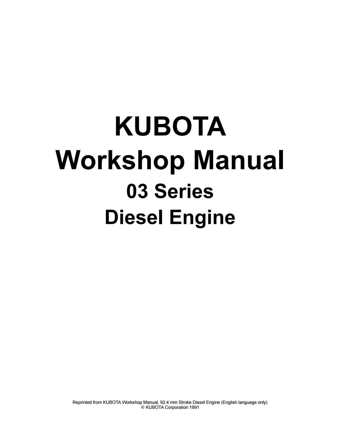 Kubota v2203 b(e) diesel engine service repair manual by