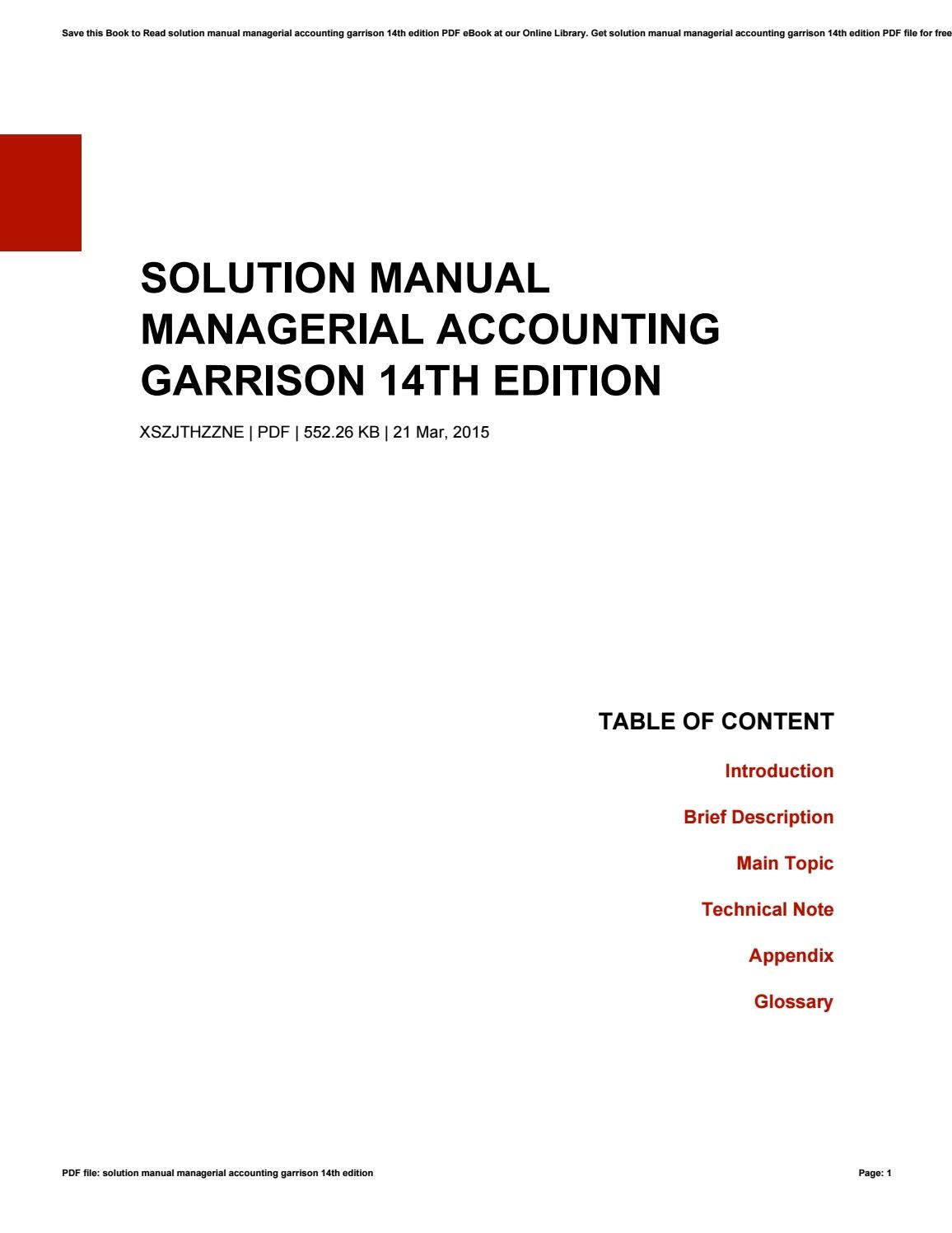 Solution manual managerial accounting garrison 14th