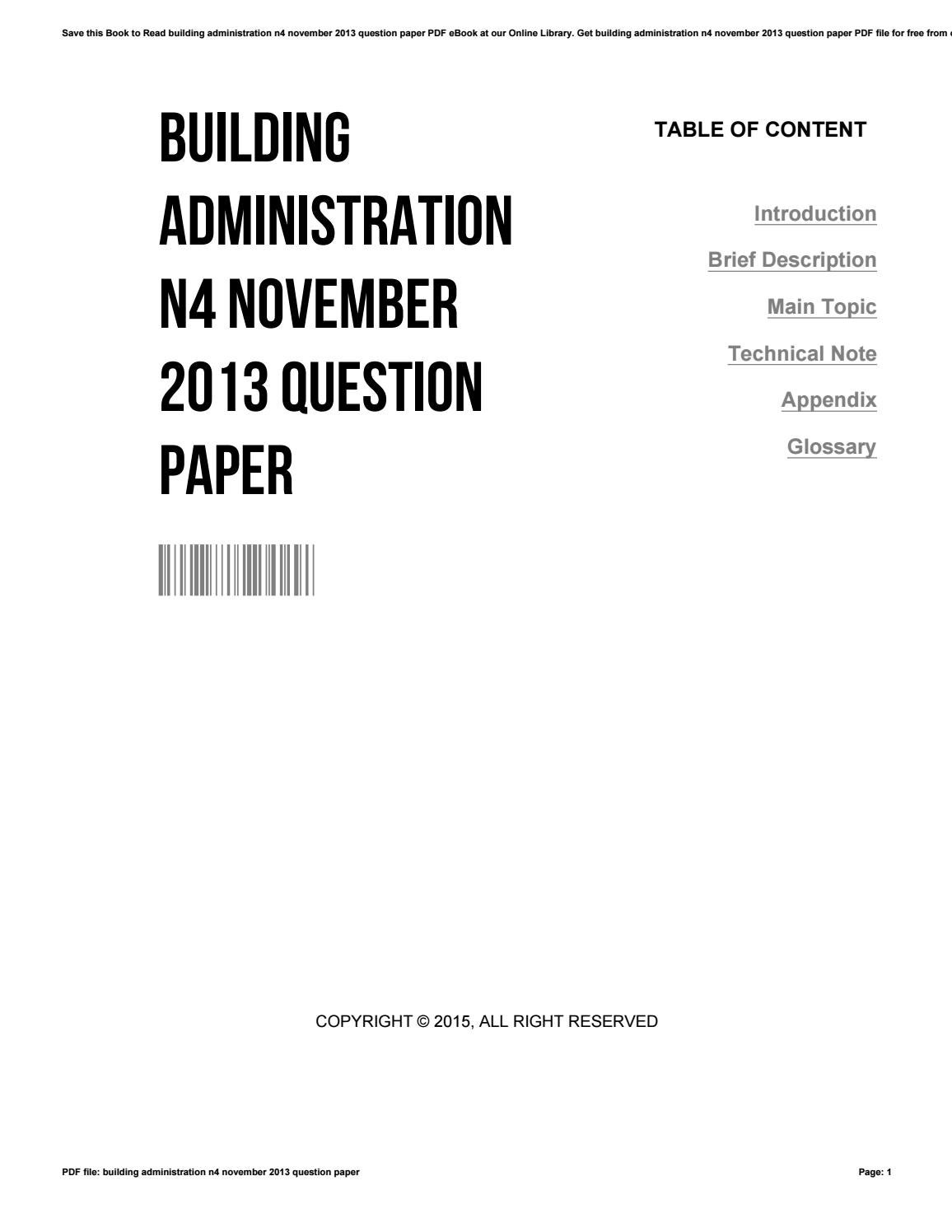 Building administration n4 november 2013 question paper by