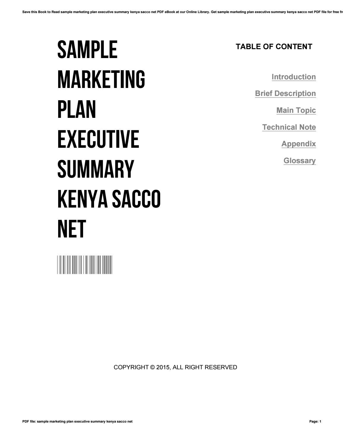 Sample marketing plan executive summary kenya sacco net by