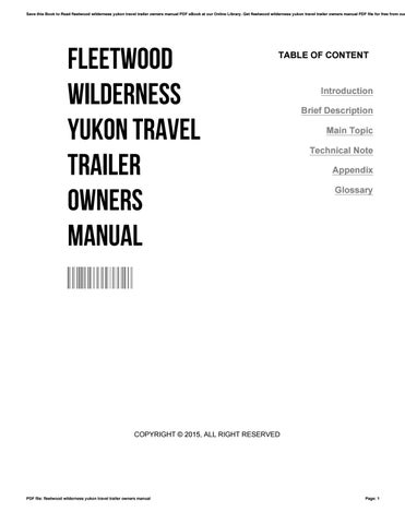 Fleetwood wilderness yukon travel trailer owners manual by