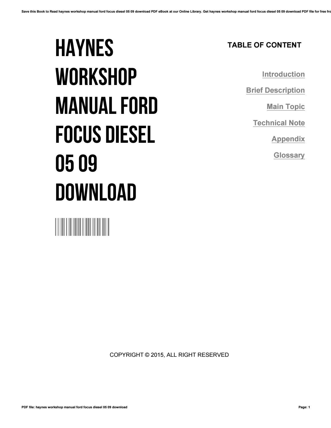 Haynes workshop manual ford focus diesel 05 09 download by
