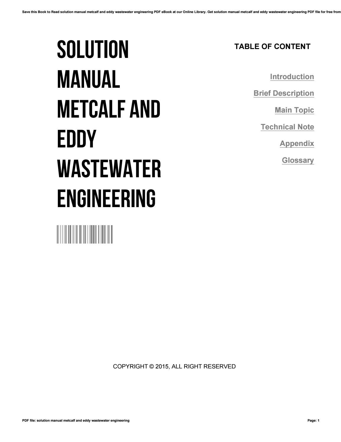 Solution manual metcalf and eddy wastewater engineering by
