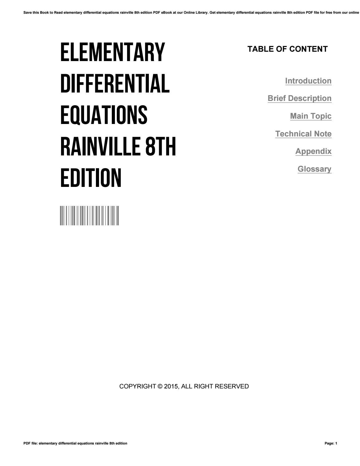 Elementary differential equations rainville 8th edition by
