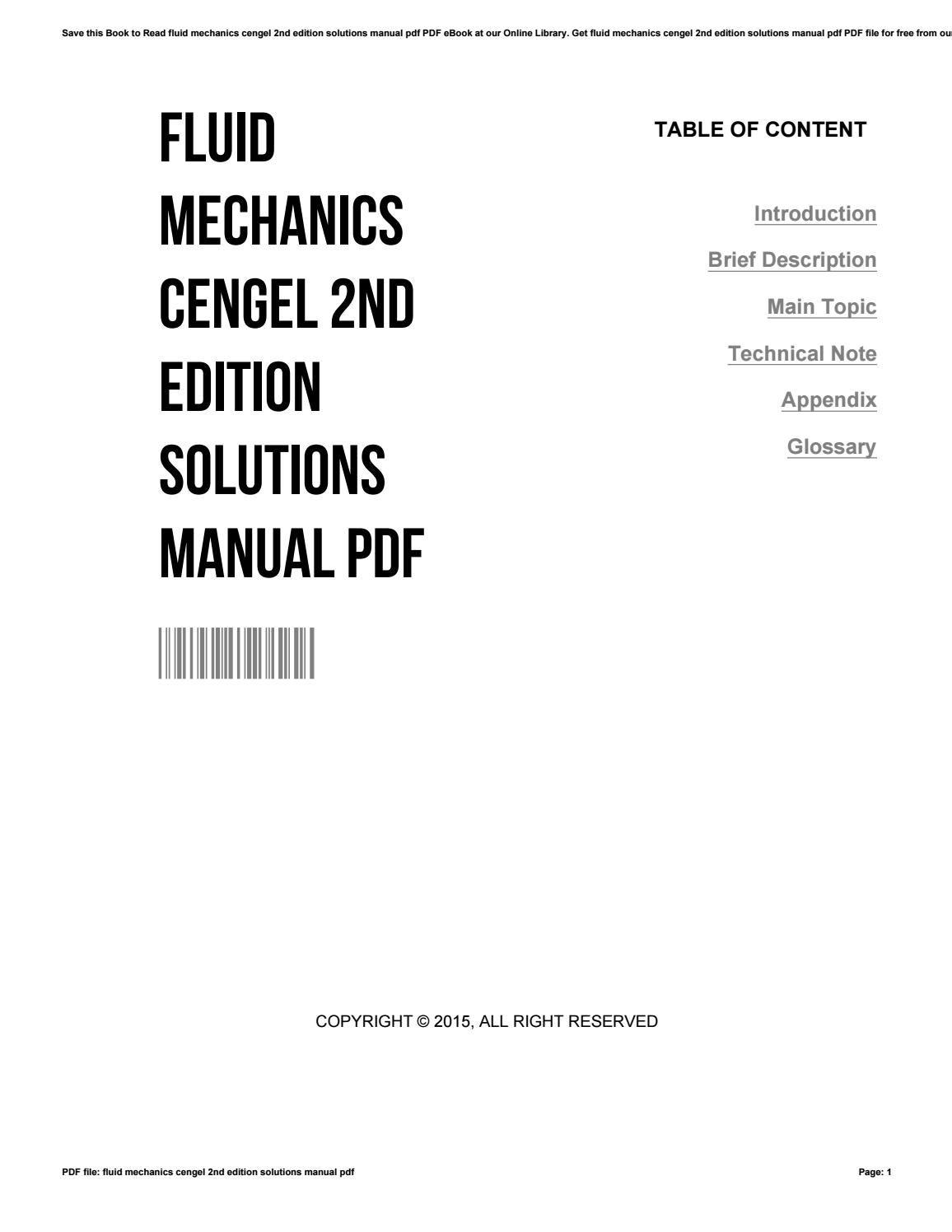 Fluid mechanics cengel 2nd edition solutions manual pdf by