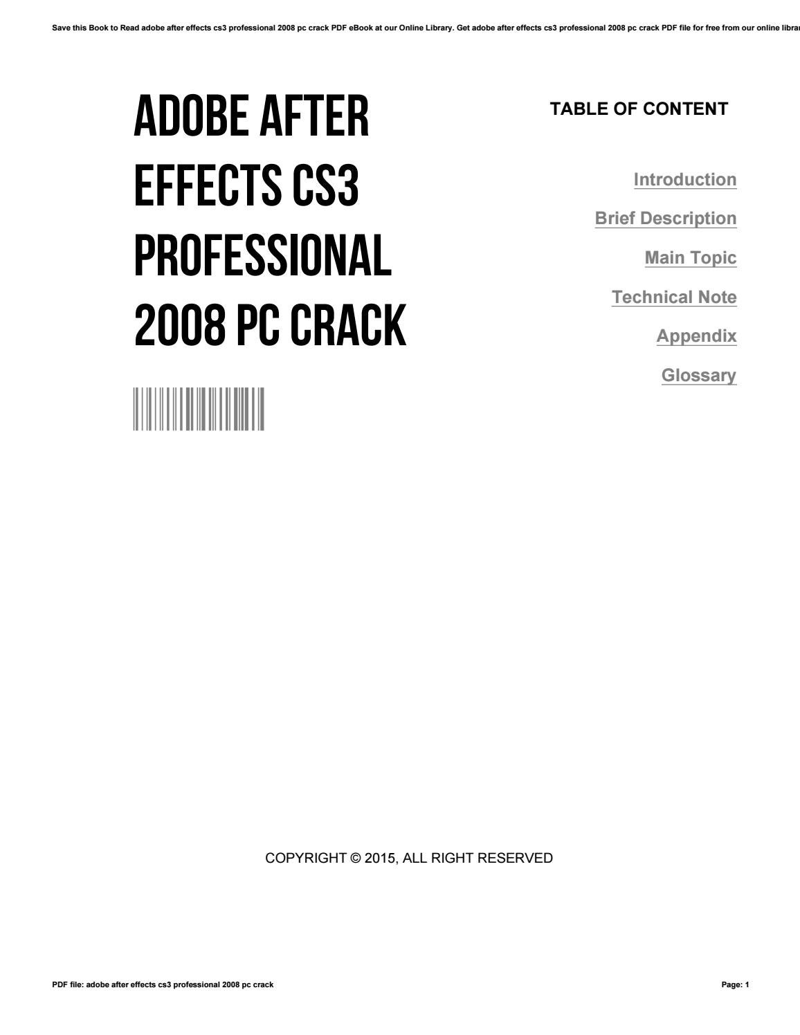 Adobe after effects cs3 professional 2008 pc crack by
