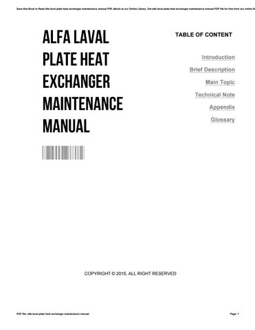 Alfa laval plate heat exchanger maintenance manual by