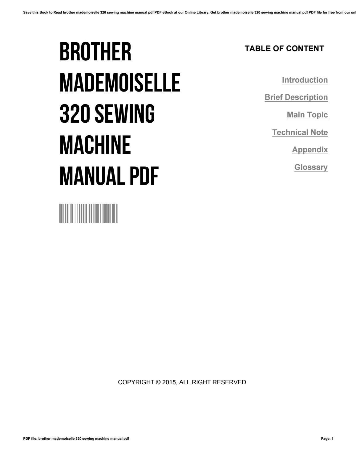 Brother mademoiselle 320 sewing machine manual pdf by