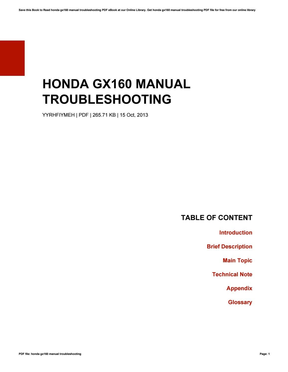 Honda gx160 manual troubleshooting by KatieMacdonald2599
