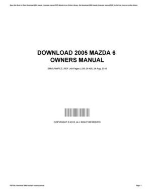 Download 2005 mazda 6 owners manual by