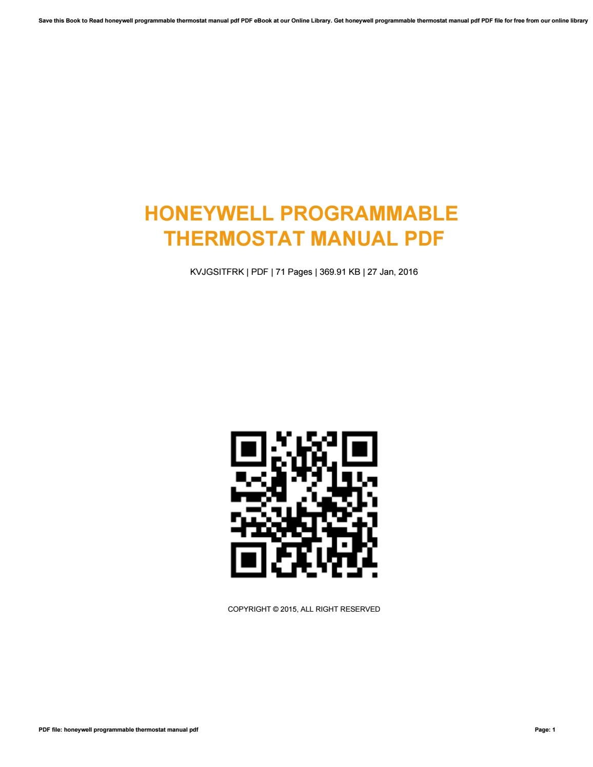 Honeywell programmable thermostat manual pdf by