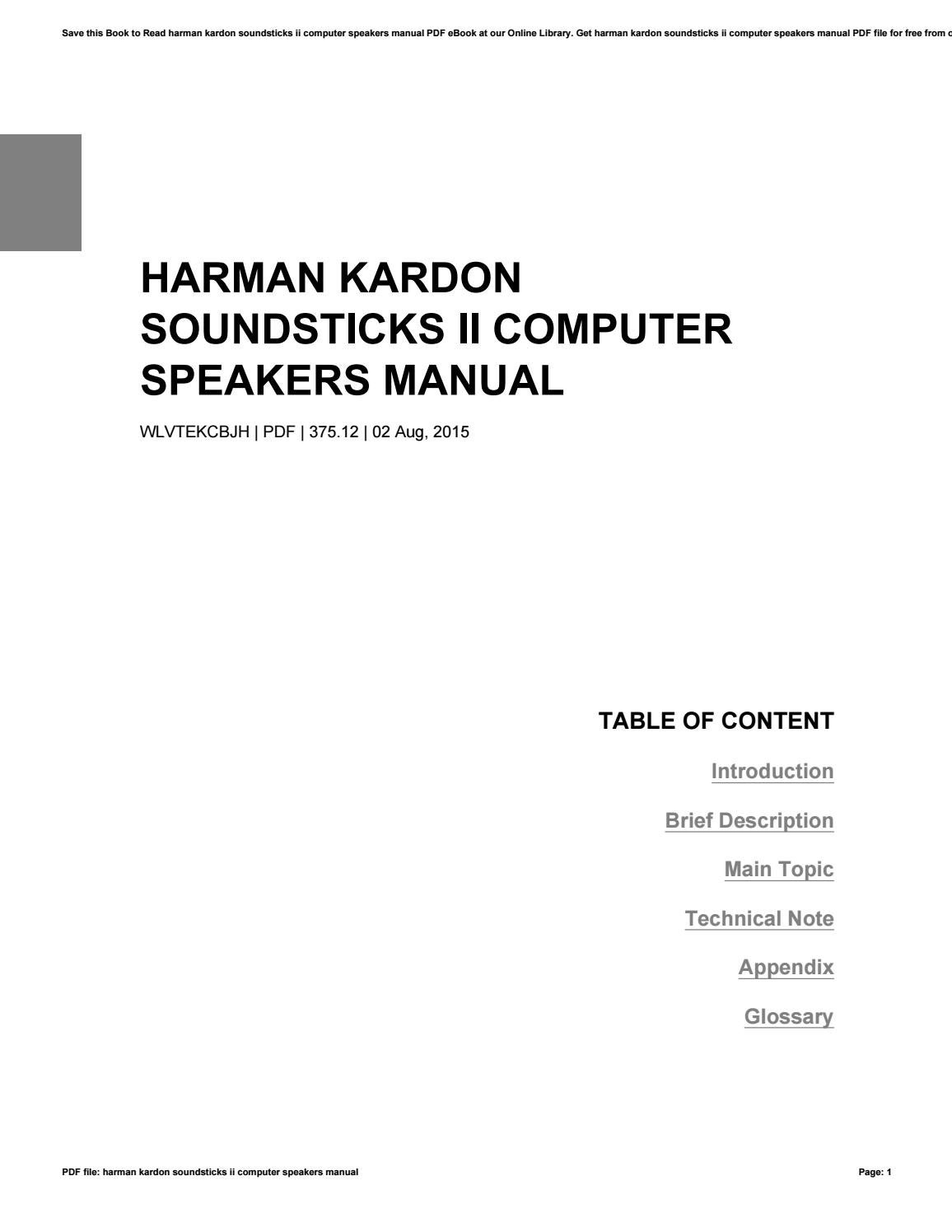 Harman kardon soundsticks ii computer speakers manual by