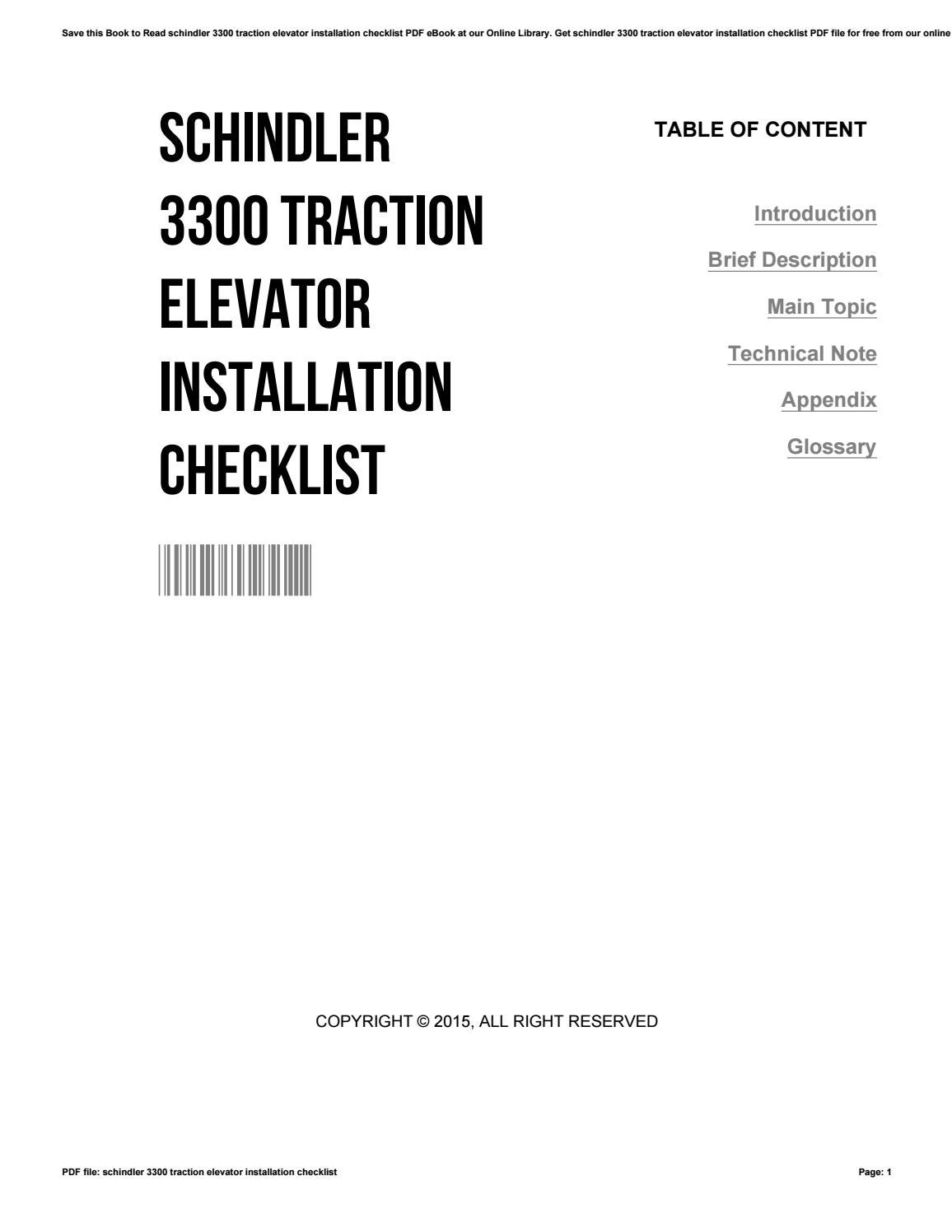 Schindler 3300 traction elevator installation checklist by