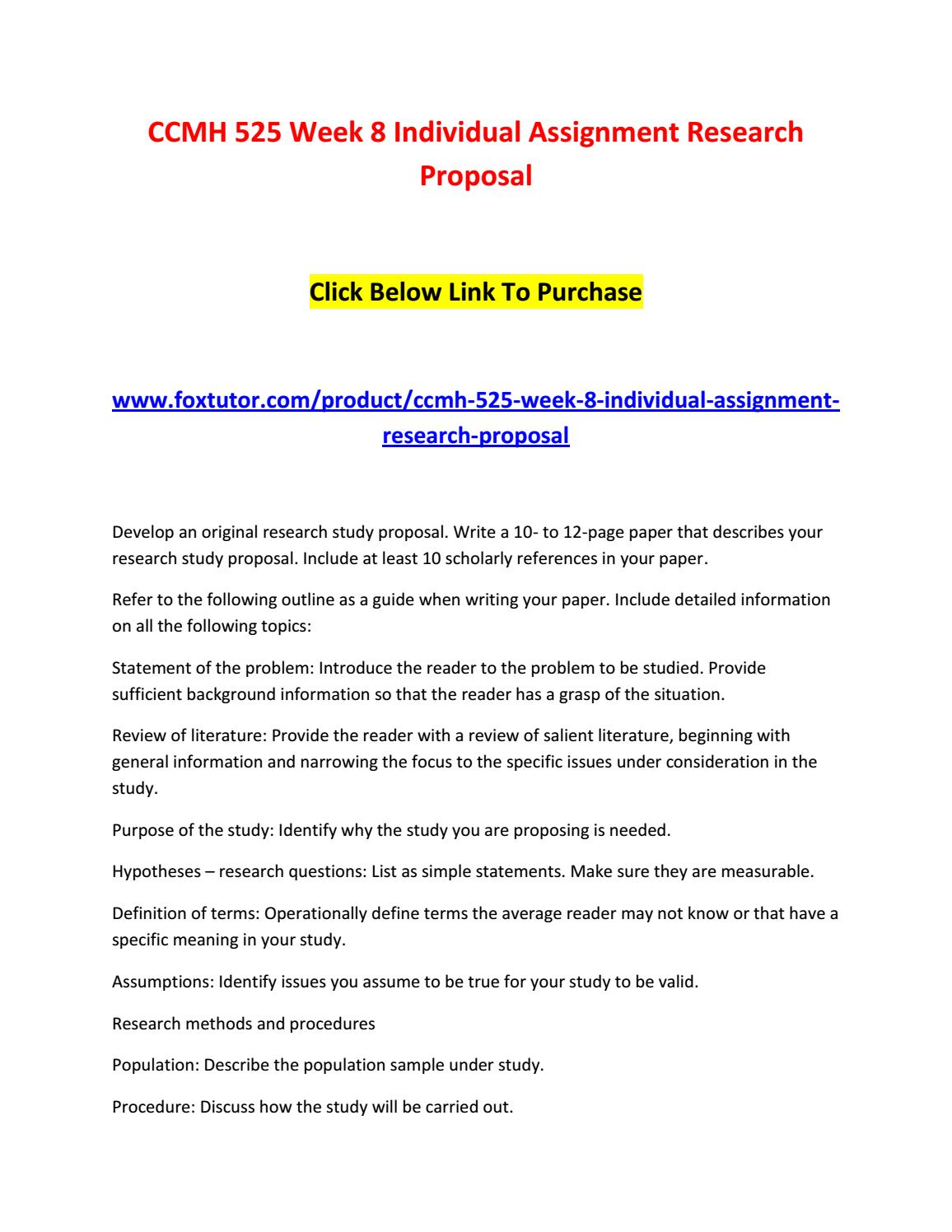 Ccmh 525 Week 8 Individual Assignment Research Proposal 2 By