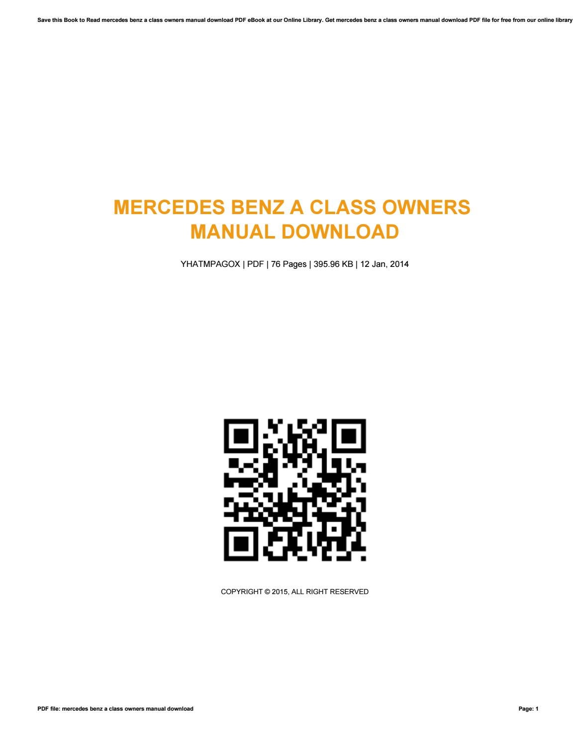 Mercedes benz a class owners manual download by