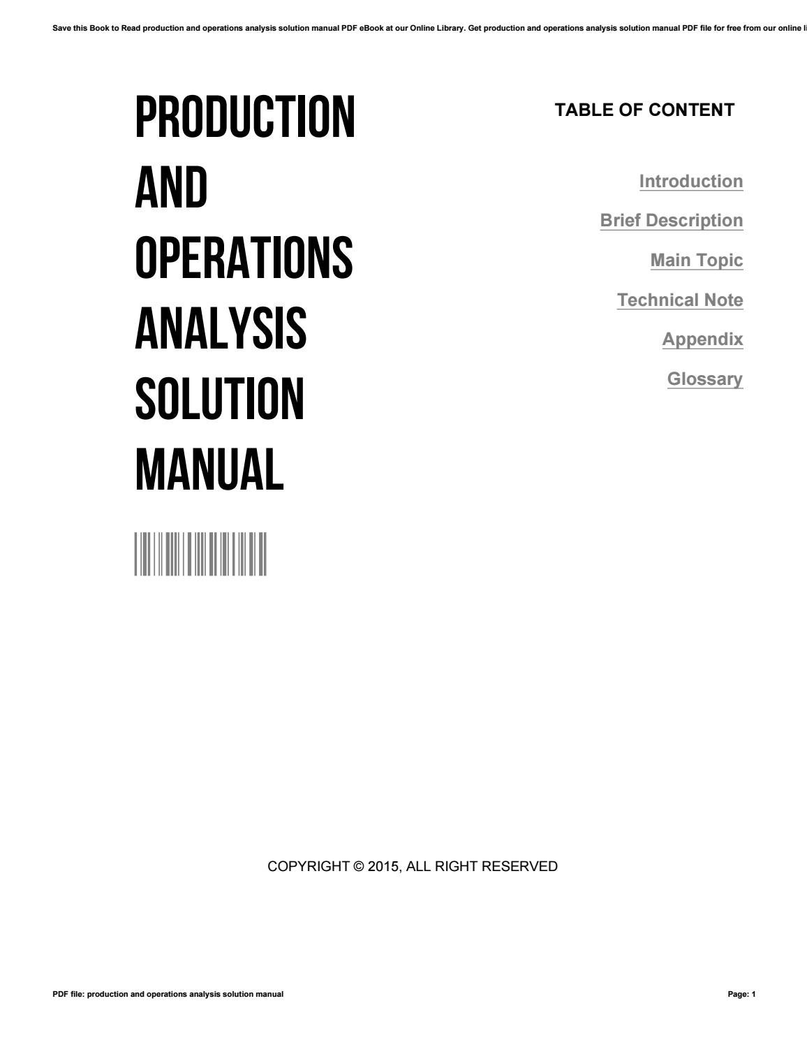 Production and operations analysis solution manual by
