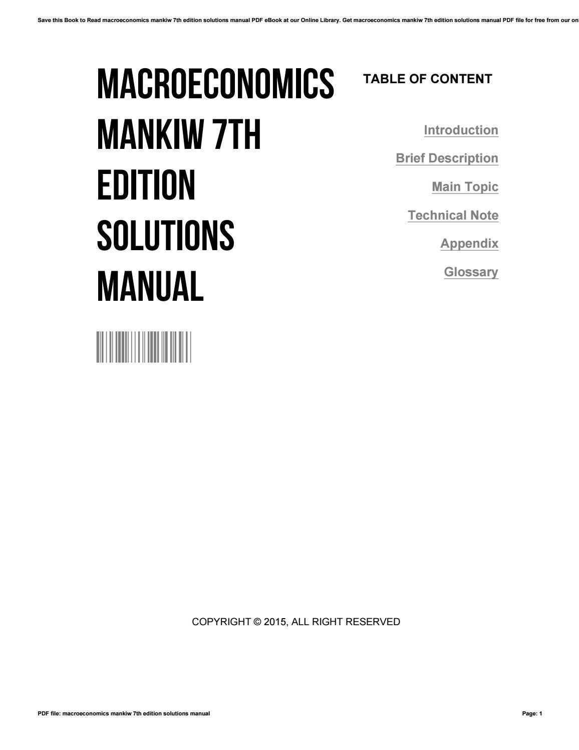 Macroeconomics mankiw 7th edition solutions manual by