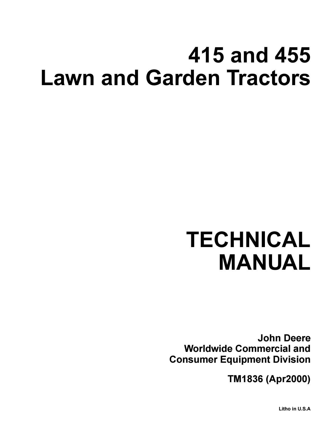 John Deere 455 Parts Diagram : deere, parts, diagram, Deere, Garden, Tractor, Service, Repair, Manual, Jhjnyiksmm, Issuu