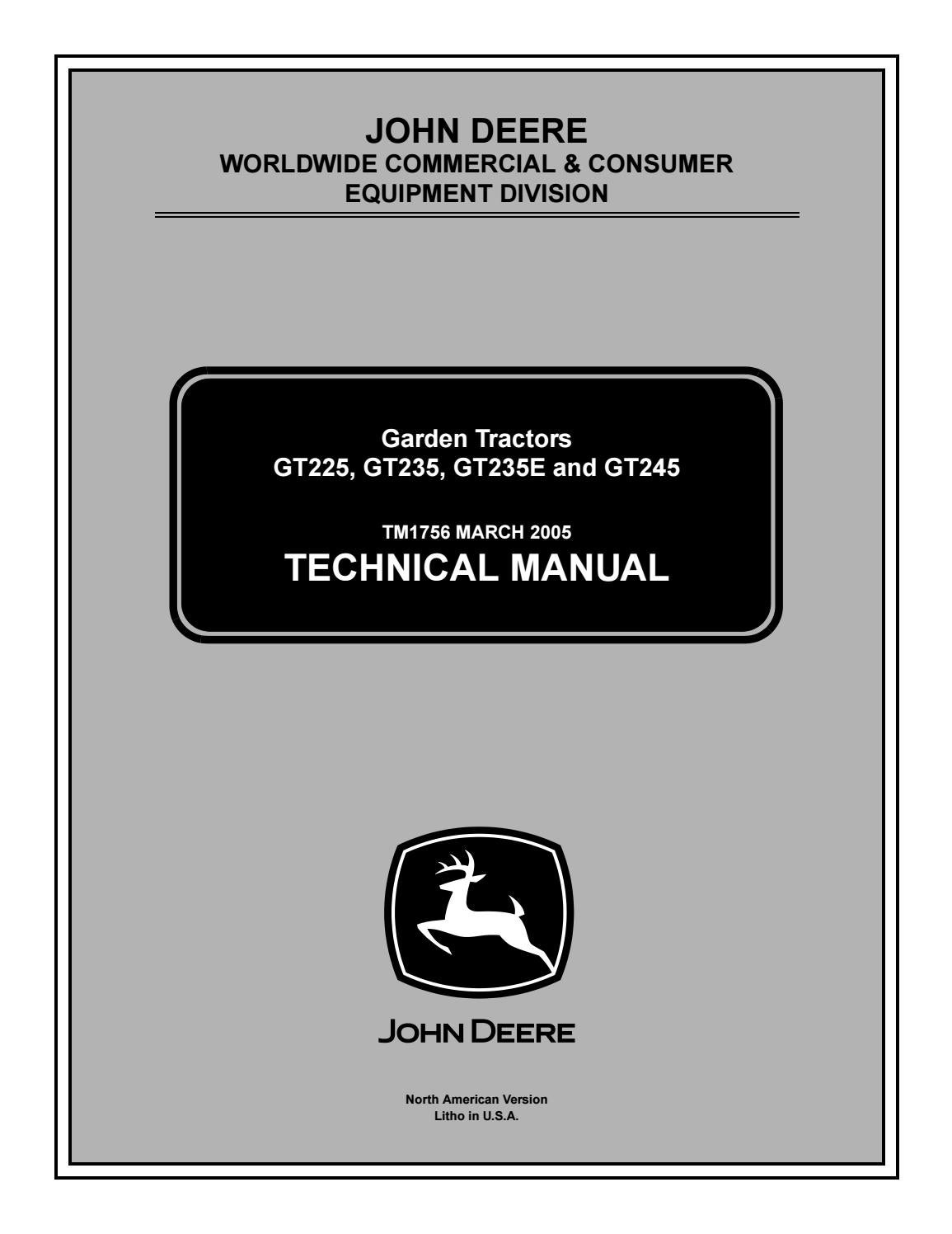 John deere gt235 lawn garden tractor service repair manual