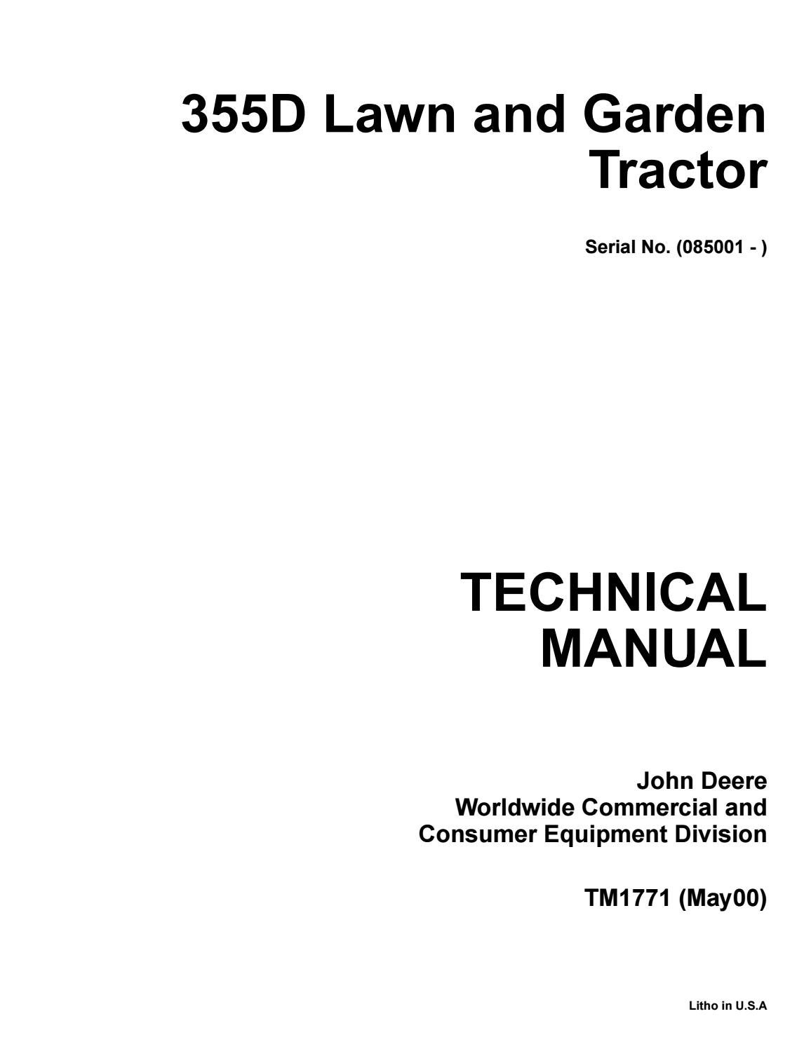 hight resolution of john deere 355d lawn garden tractor service repair manual by kjsmfmmf issuu