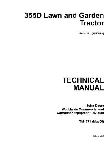 John deere 355d lawn garden tractor service repair manual