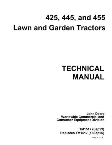 john deere 445 lawn garden tractor service repair manual by kjsmfmmf