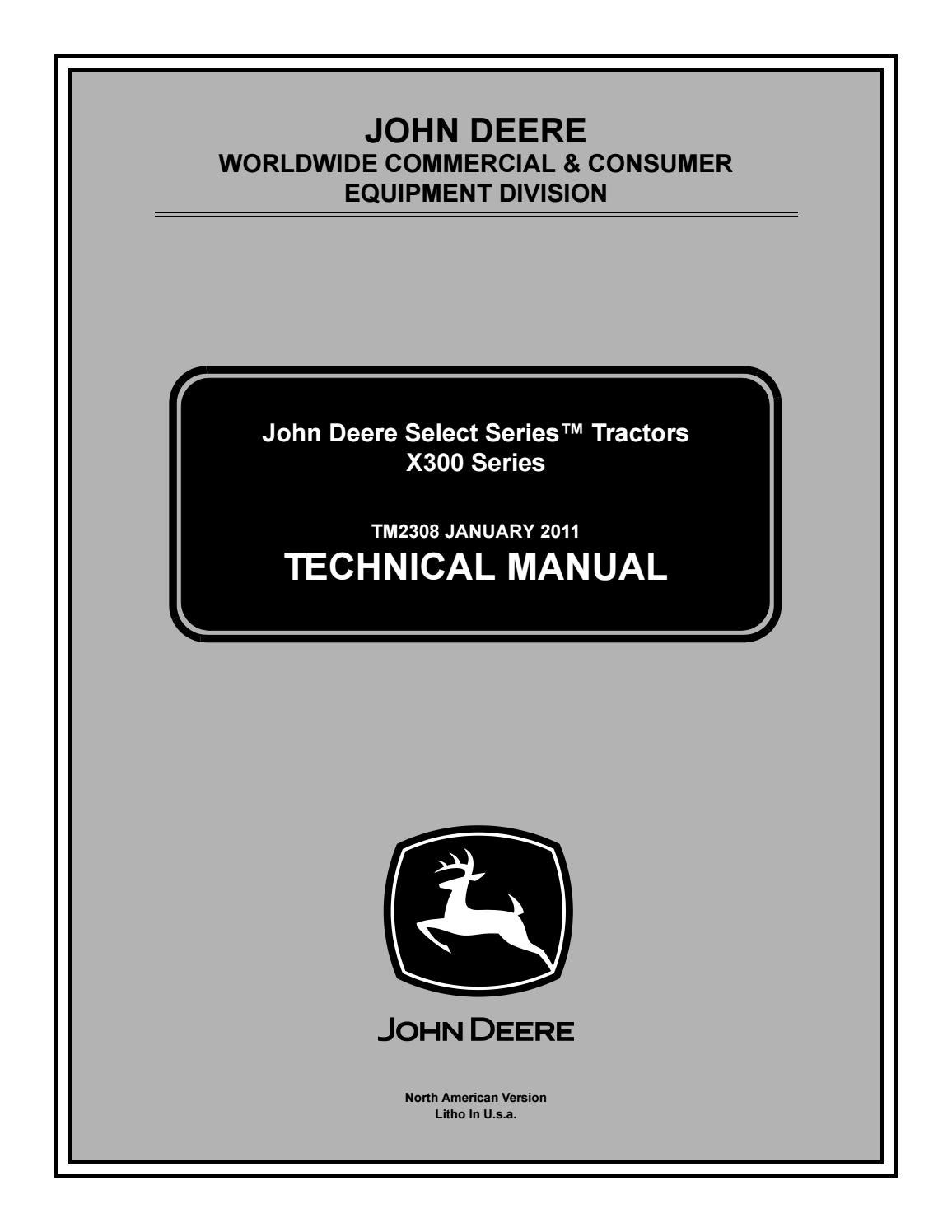 John deere x300 lawn tractor service repair manual by