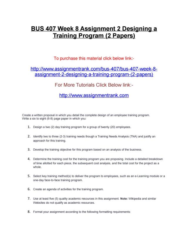Bus 2555 week 2555 assignment 255 designing a training program (255 papers