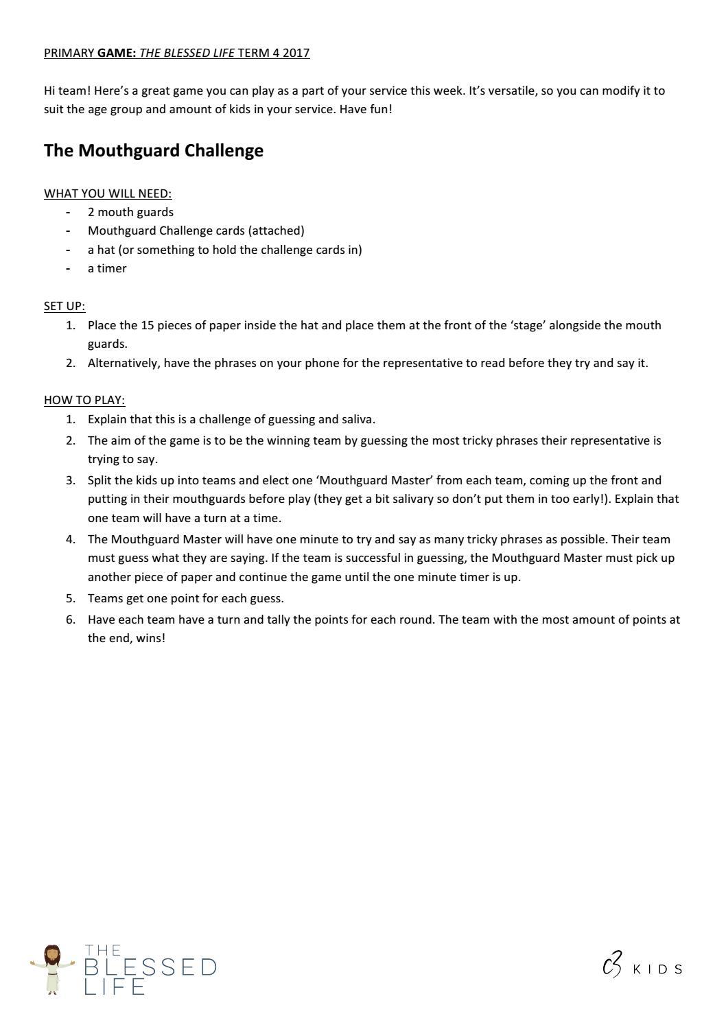Mouthguard Challenge Phrases : mouthguard, challenge, phrases, Primary, Mouthguard, Challenge, Issuu