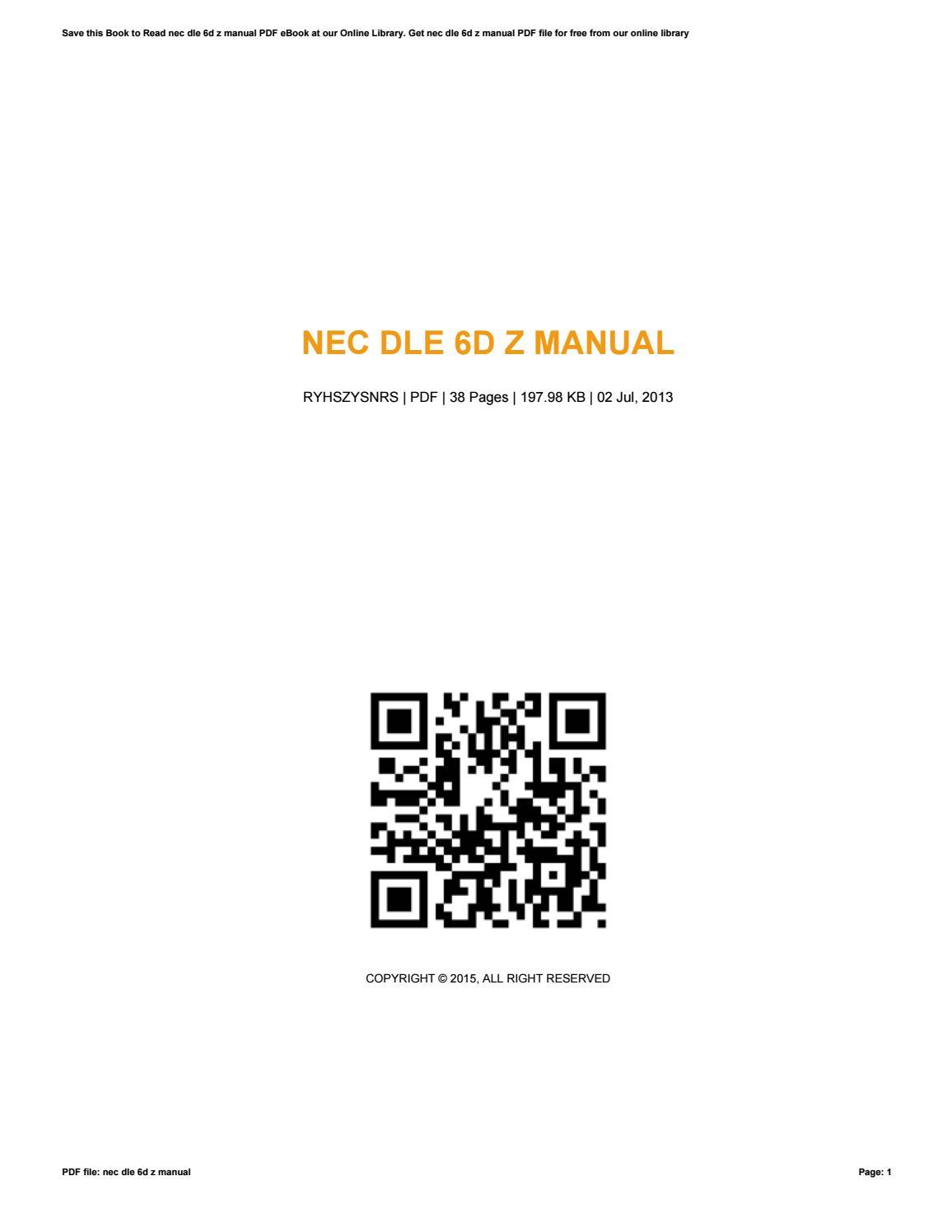 nec dlv phones manual ebook