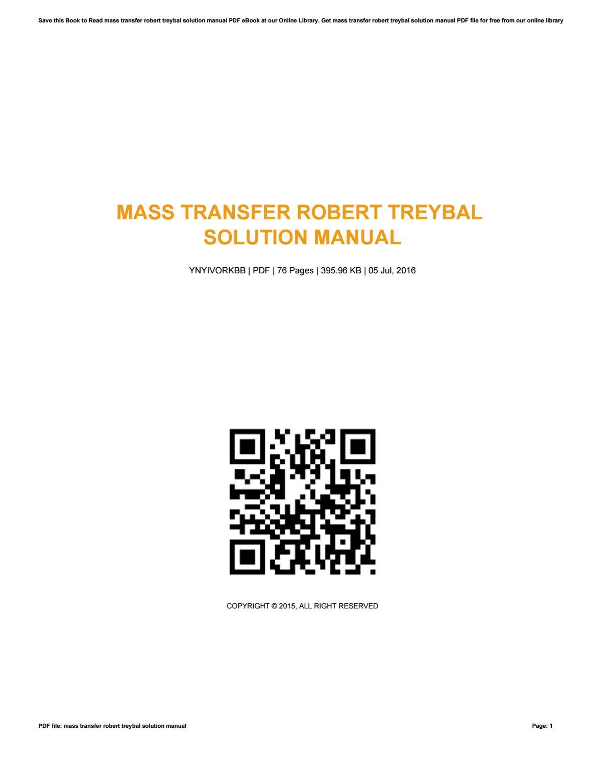 Mass transfer robert treybal solution manual by
