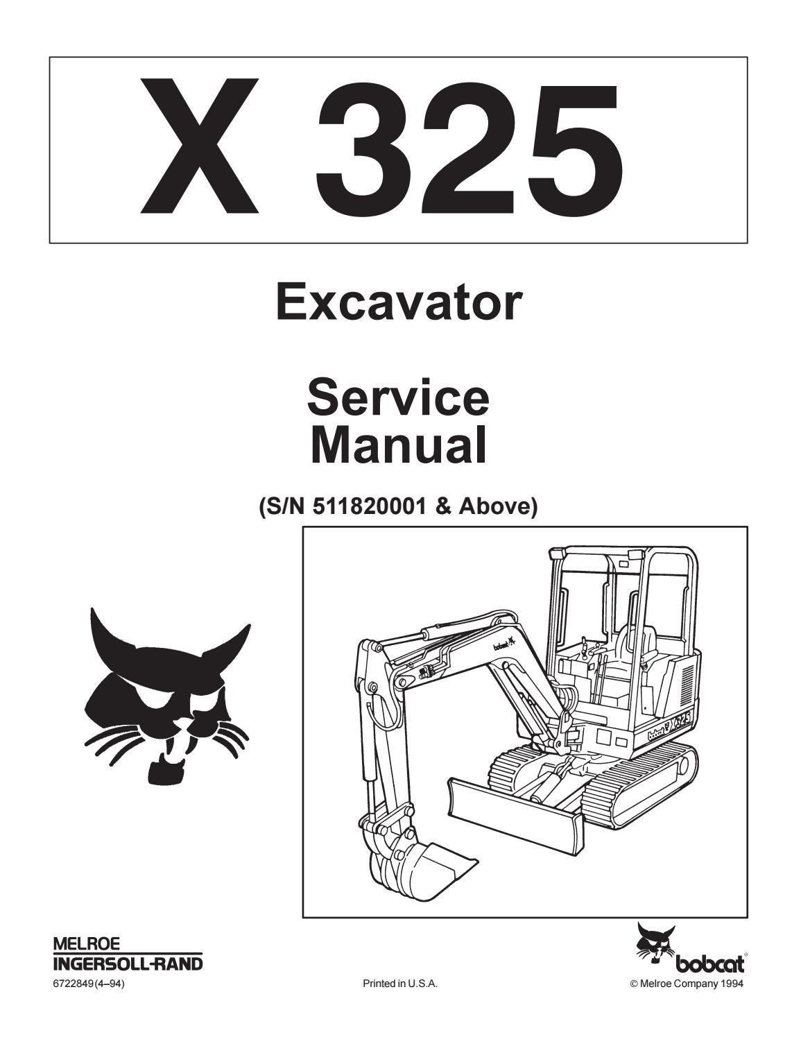 Bobcat 325 compact excavator service repair manual sn