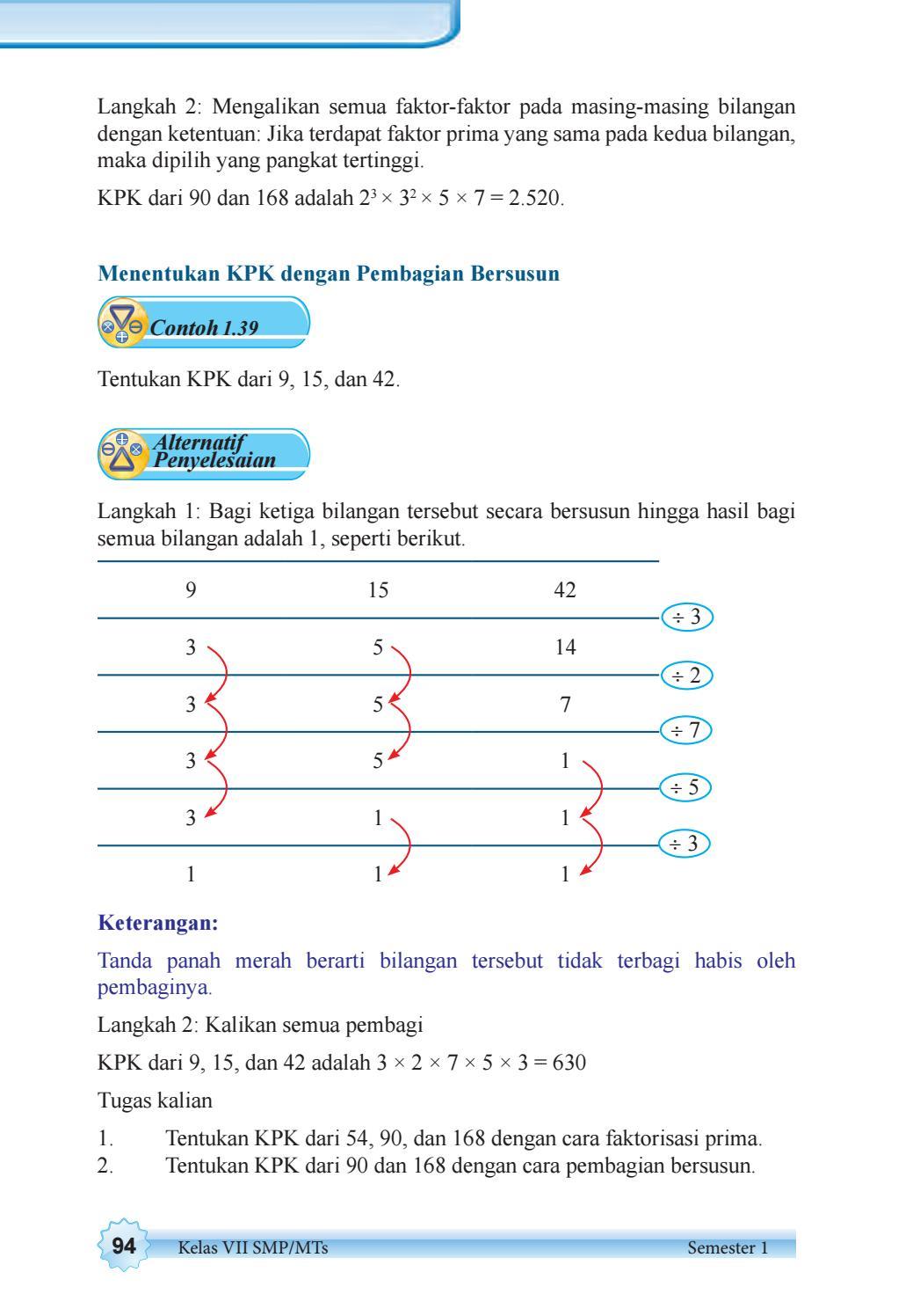 Tentukan Kpk Dari 90 Dan 168 Dengan Cara Pembagian Bersusun : tentukan, dengan, pembagian, bersusun, Kelas, Matematika, Siswa, Issuu