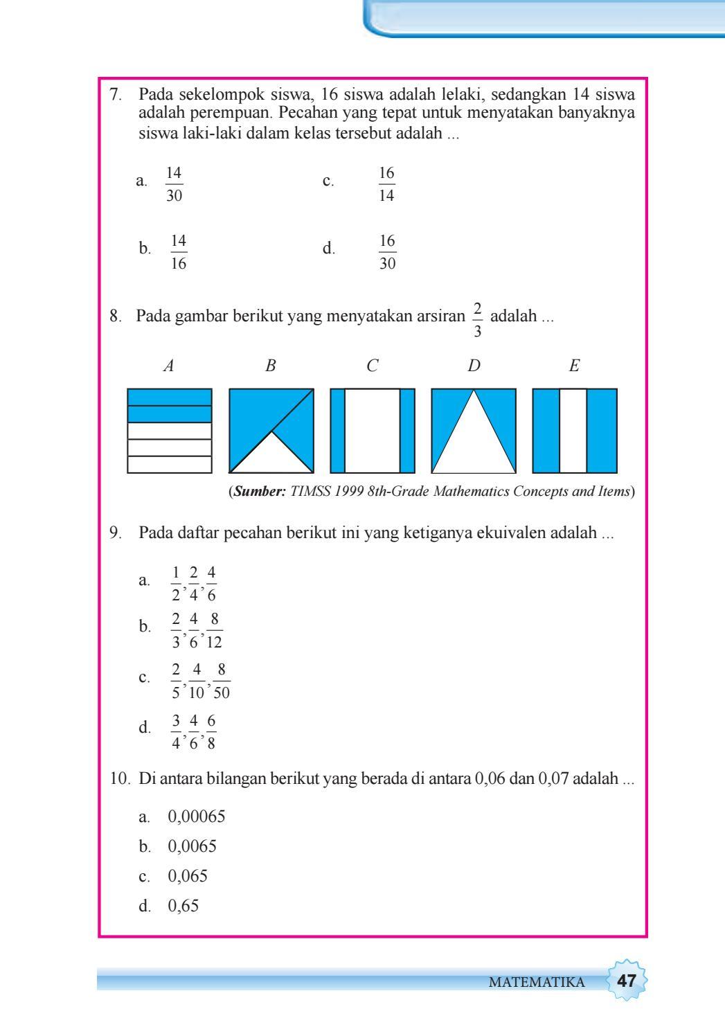 Pada Daftar Pecahan Berikut Ini Yang Ketiganya Ekuivalen : daftar, pecahan, berikut, ketiganya, ekuivalen, Kelas, Matematika, Siswa, Issuu