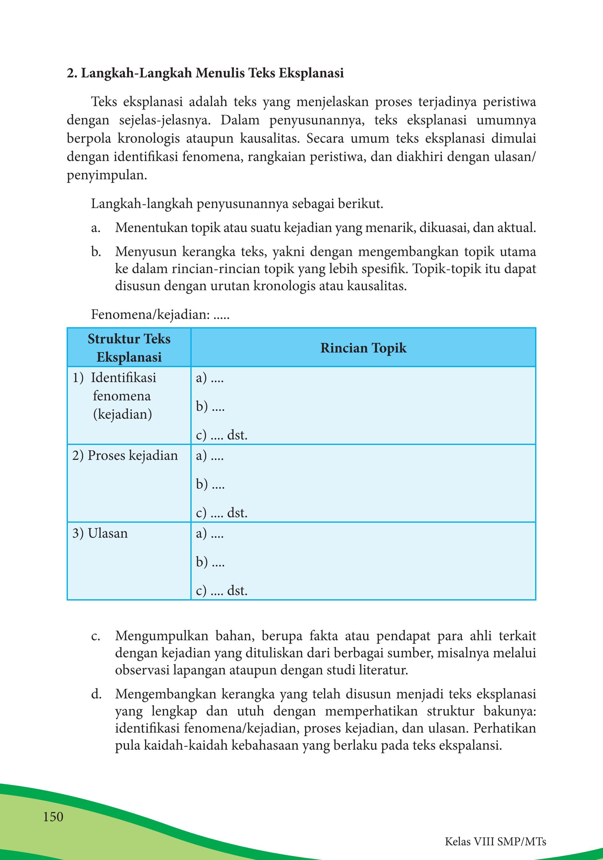 Langkah Langkah Penulisan Teks Eksplanasi : langkah, penulisan, eksplanasi, Kelas, Bahasa, Indonesia, Siswa, Issuu