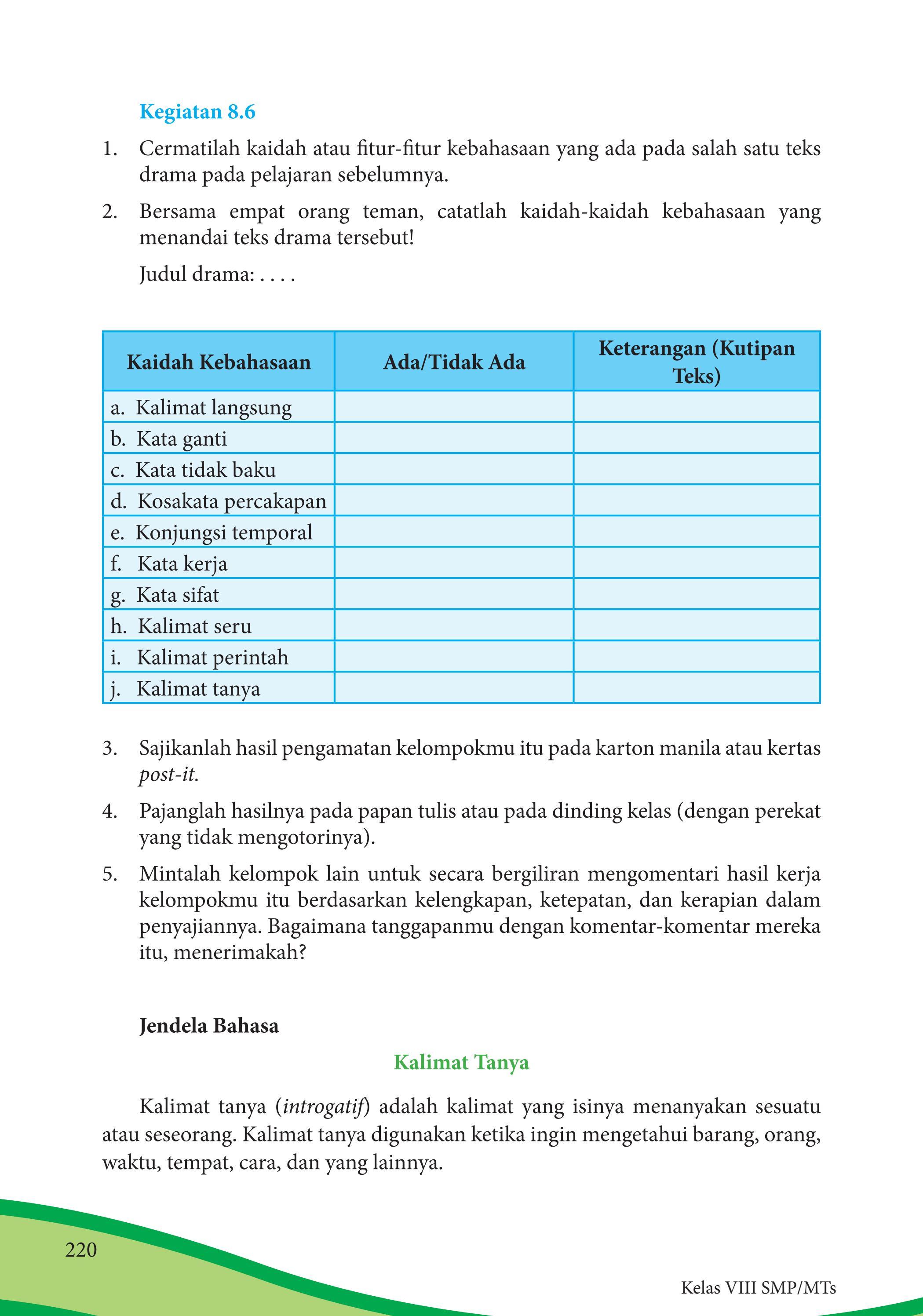 Fitur Kebahasaan Kutipan Teks : fitur, kebahasaan, kutipan, Kelas, Bahasa, Indonesia, Siswa, Issuu