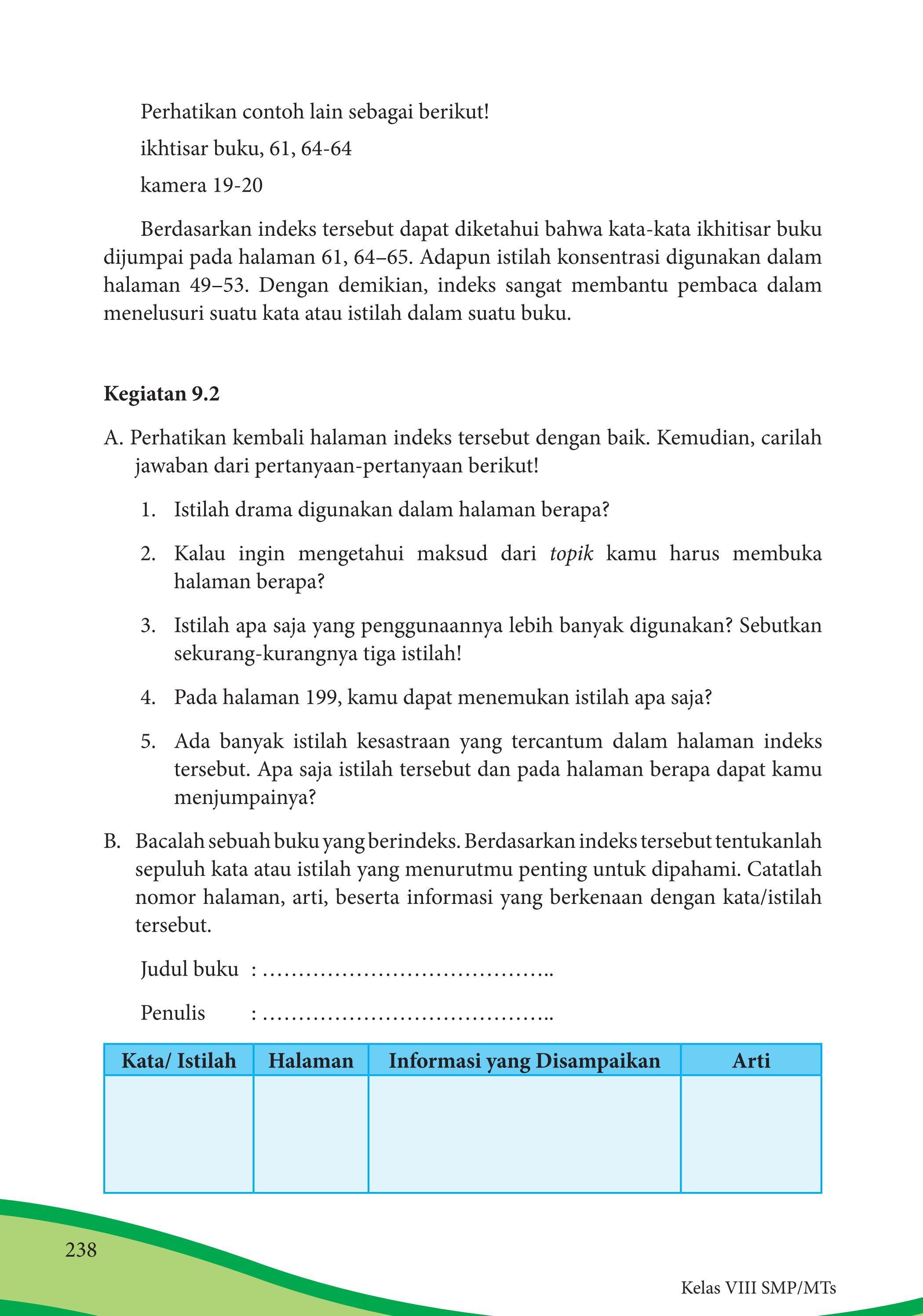 Bacalah Sebuah Buku Yang Berindeks : bacalah, sebuah, berindeks, Kelas, Bahasa, Indonesia, Siswa, Issuu