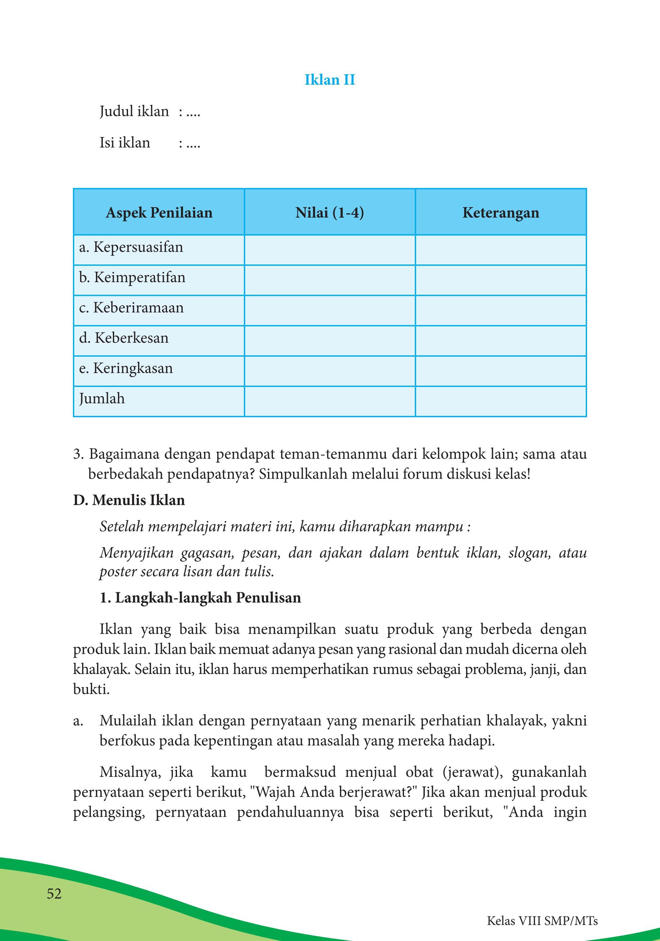 Langkah-langkah Penulisan Iklan : langkah-langkah, penulisan, iklan, Kelas, Bahasa, Indonesia, Siswa, Issuu
