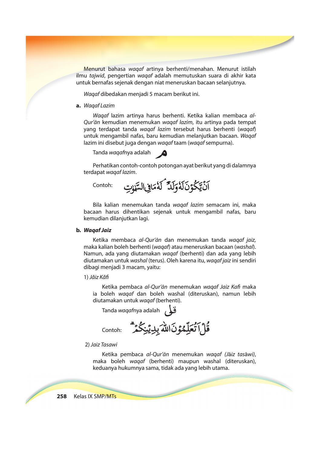 Contoh Bacaan Waqaf Lazim : contoh, bacaan, waqaf, lazim, Kelas, Pendidikan, Agama, Islam, Pekerti, Siswa, Issuu