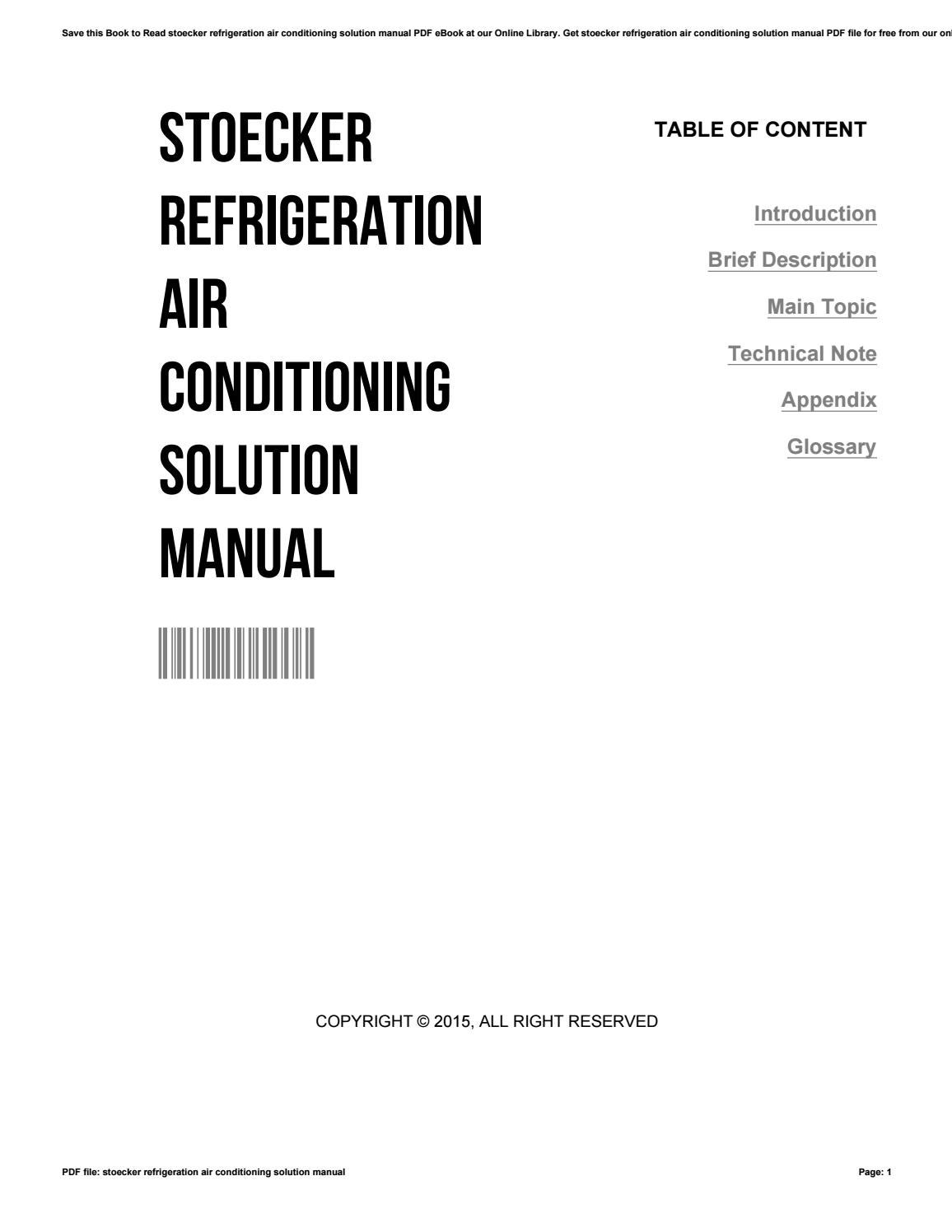 Stoecker refrigeration air conditioning solution manual by