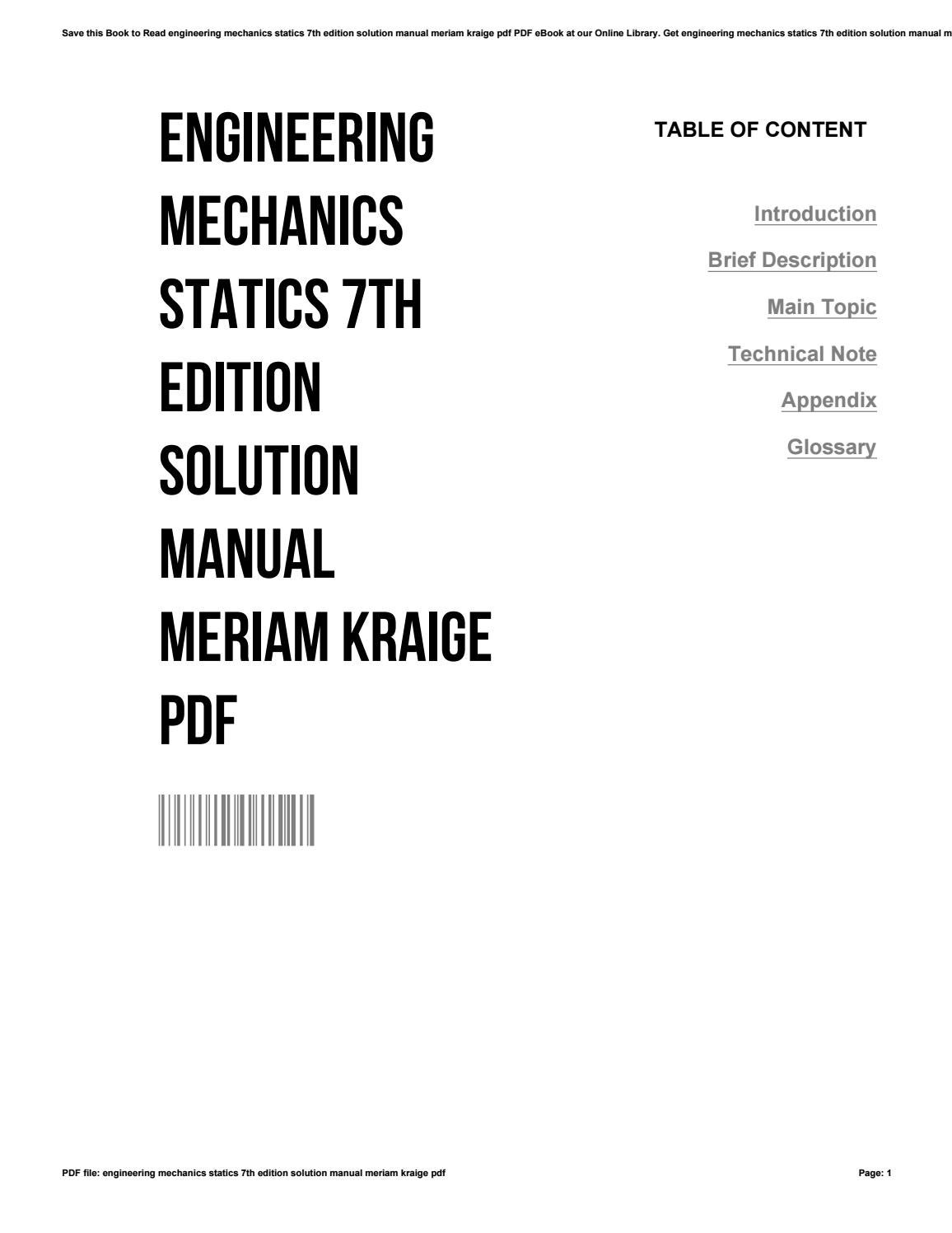Engineering mechanics statics 7th edition solution manual