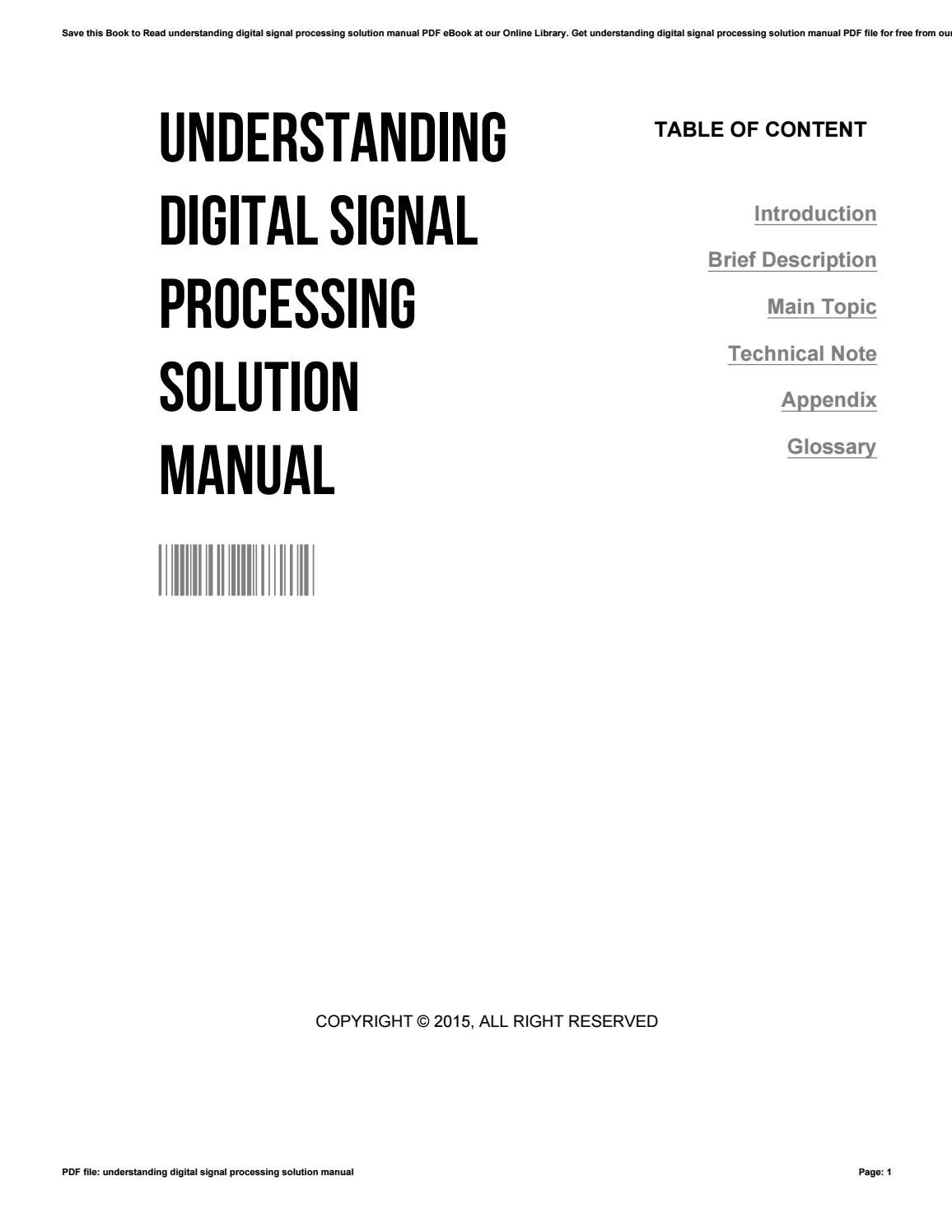 Understanding digital signal processing solution manual by