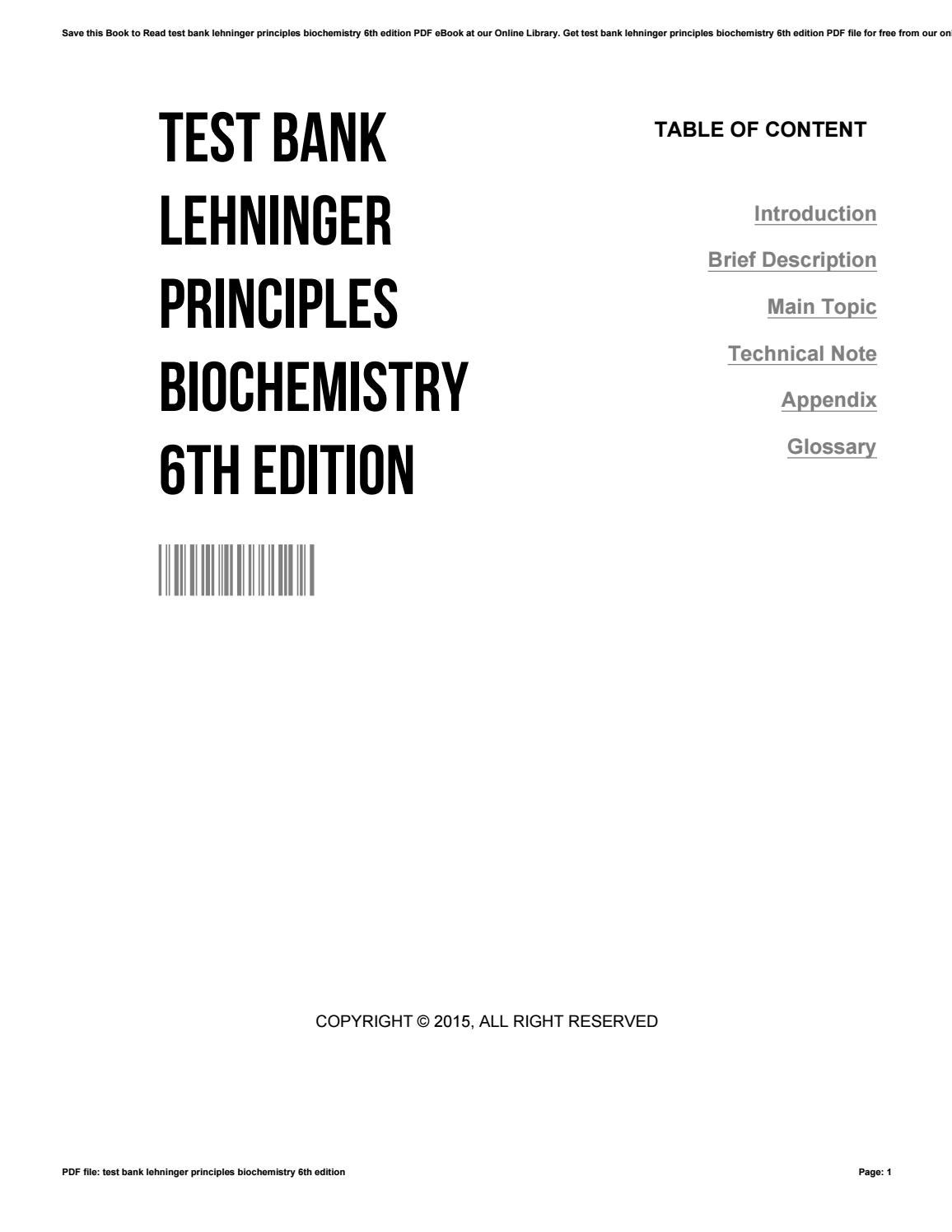 Test bank lehninger principles biochemistry 6th edition by