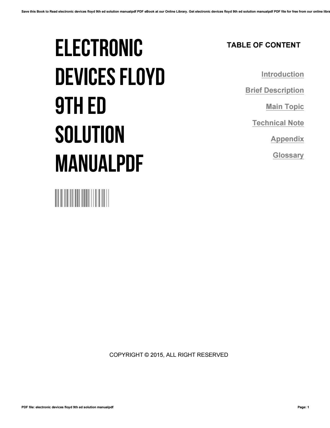 Electronic Devices 9th Edition Floyd Solution Manual