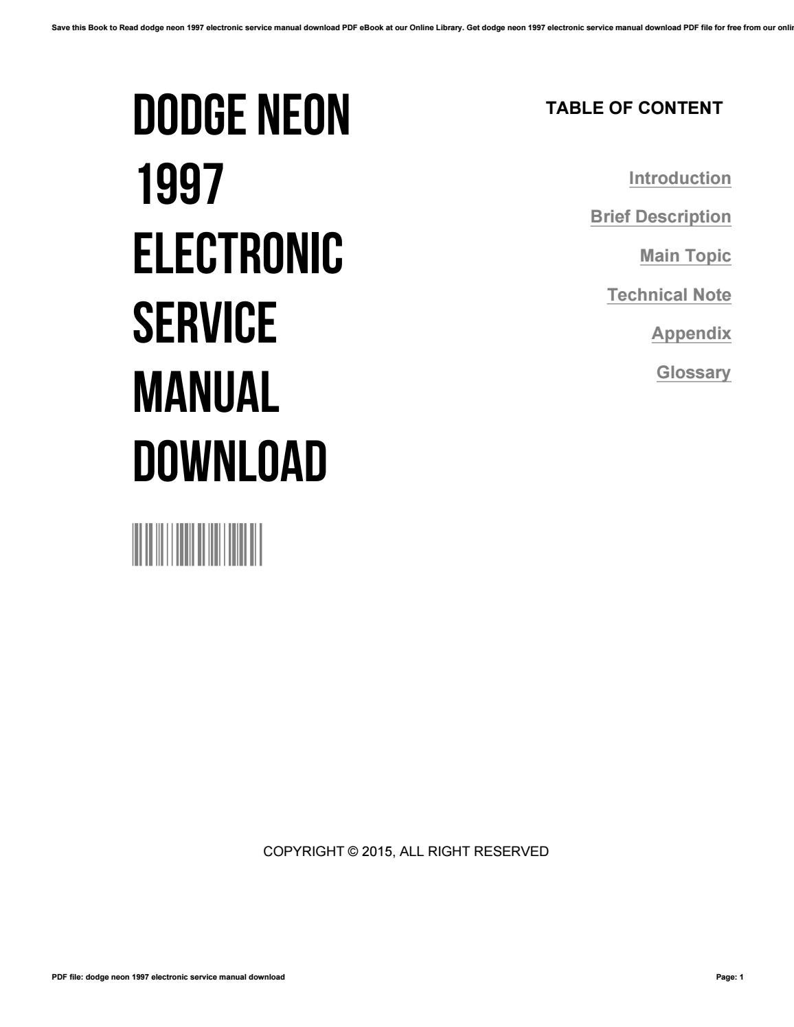 Dodge neon 1997 electronic service manual download by