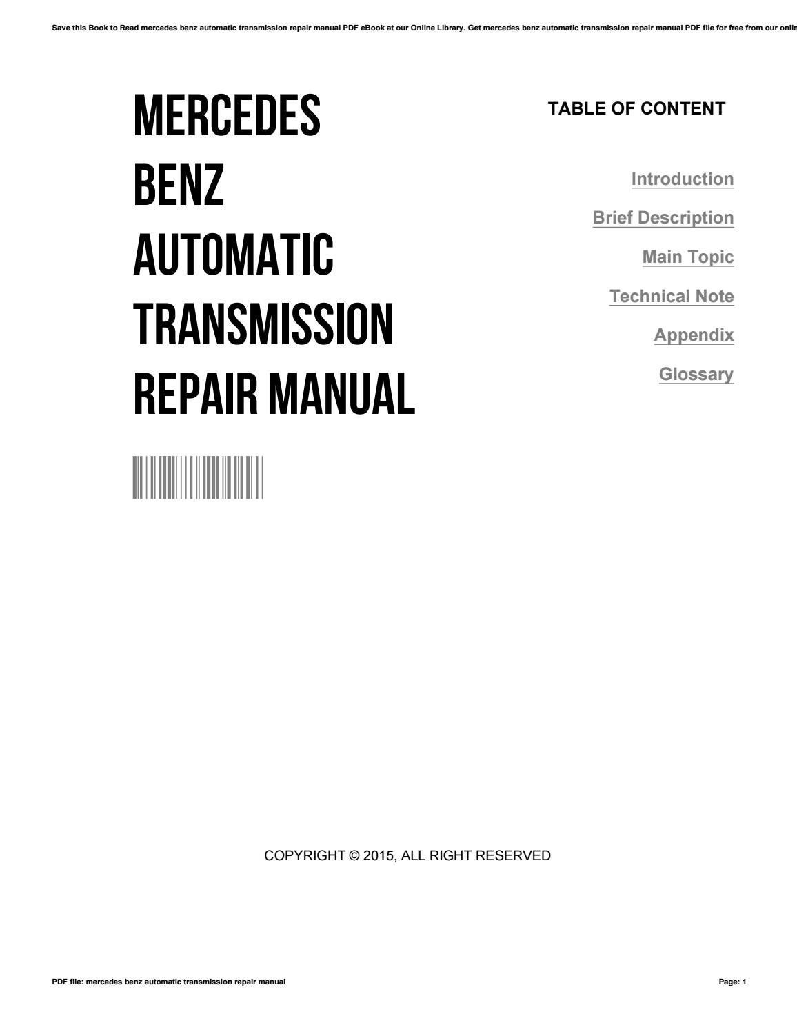 Mercedes benz automatic transmission repair manual by