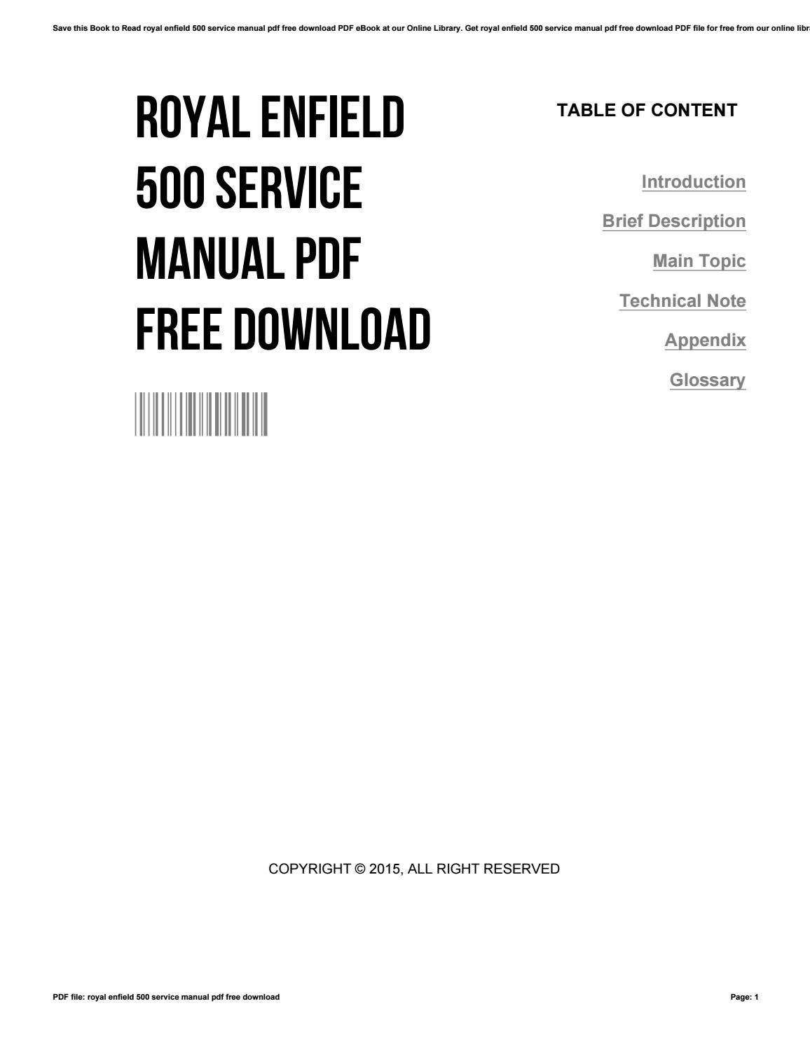 Royal enfield 500 service manual pdf free download by