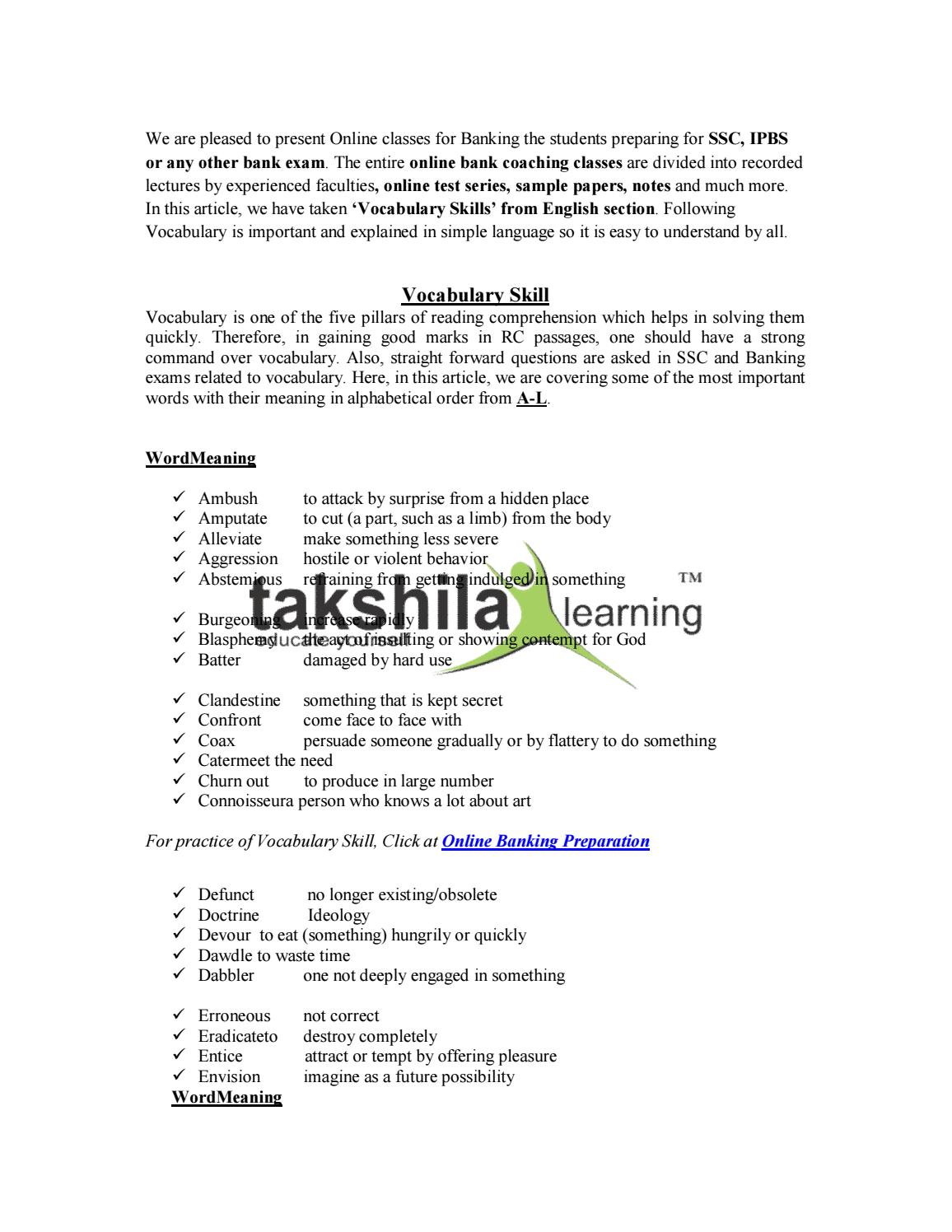 Bank Po Clerk Exam Vocabulary Skills Preparation Vocabulary For Bank Exams By Takshila Learning Issuu