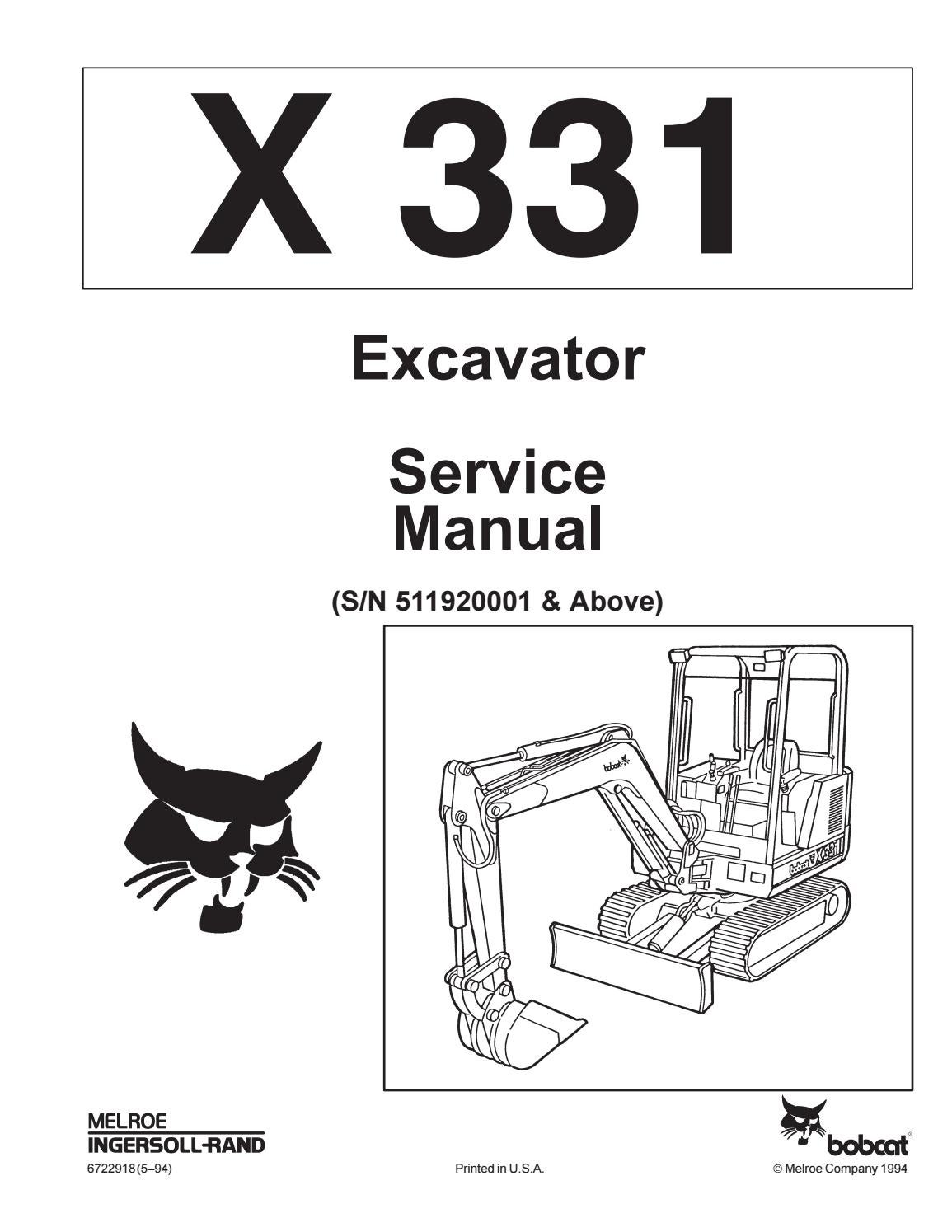 hight resolution of bobcat 331 compact excavator service repair manual sn 511920001 above by jksemfmm issuu